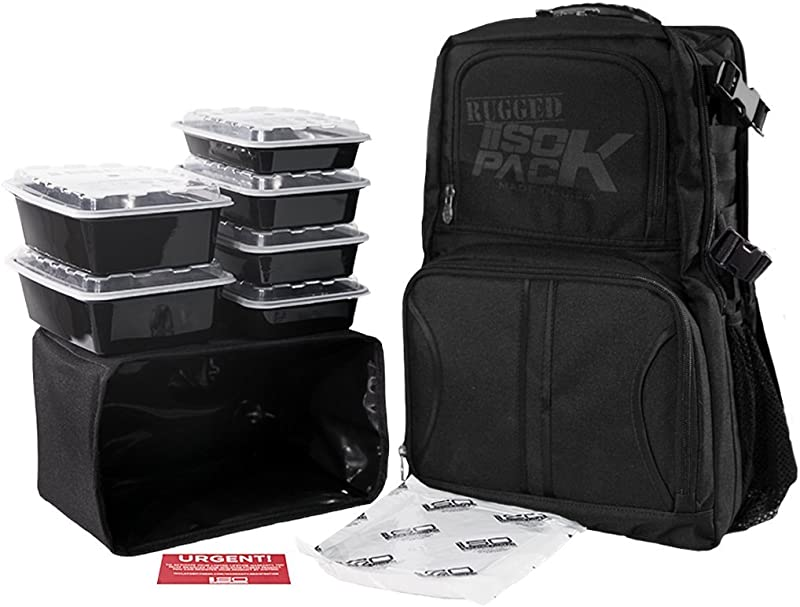 Isolator Fitness 4 Meal RUGGED ISOPACK Meal Prep Management Backpack Insulated Lunch Pack Cooler With 6 Stackable Meal Prep Containers ISOBRICK MADE IN USA Blackout