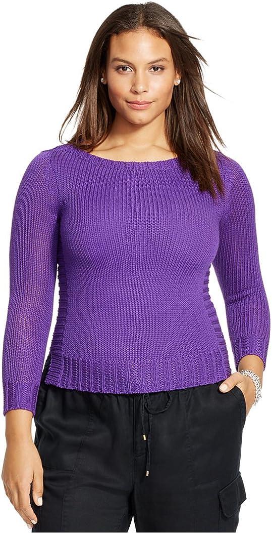 Lauren Ralph Lauren Womens Plus Knit Ribbed Trim Pullover Sweater Purple 1X