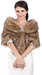 Edary Women Faux Fur Wrap Brown Fur Shawl Winter Bridal Stole Collar Wedding Fur Scarf for Brides and Bridesmaids ÿ