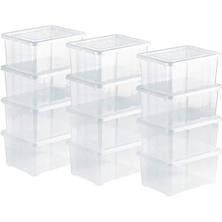 Grizzly Lot de 12 Boites de Rangement avec Couvercle - 1,7 L (XS) - Caisses empilables en Plastique Transparent - pour pour Chaussures de bébé Jouets, Bricolage