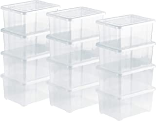 Grizzly Lot de 12 Boites de Rangement avec Couvercle - 1,7 L (XS) - Caisses empilables en Plastique Transparent - pour pou...