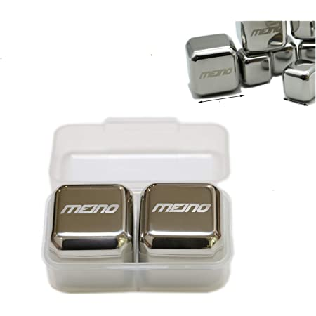 4X4X4cm Jumbo Stainless Steel Resuable Ice Cubes, set of 2 by MEINO