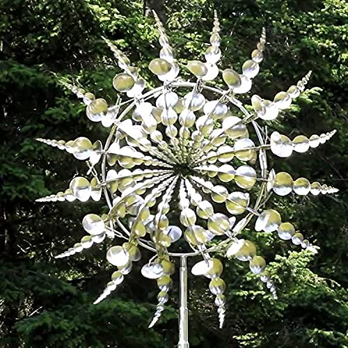 Unique and Magical Metal Windmill for Outdoor Decoration - 3D Wind Powered Kinetic Sculpture - Metal Mandala Wind Spinner for Garden Lawn Patio Yard