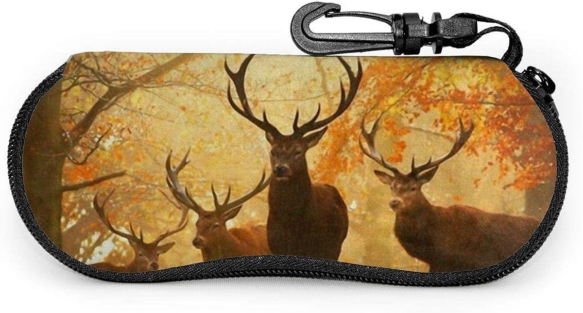 Deer In Autumn Forest Sunglasses Soft Case Ultra Light Neoprene Zipper Eyeglass Case With Key Chain