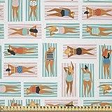 ABAKUHAUS Playa Tela por Metro, Las Mujeres Rayas Toallas Verano, Microfibra Decorativa para Artes y Manualidades, 1M (230x100cm), Multicolor