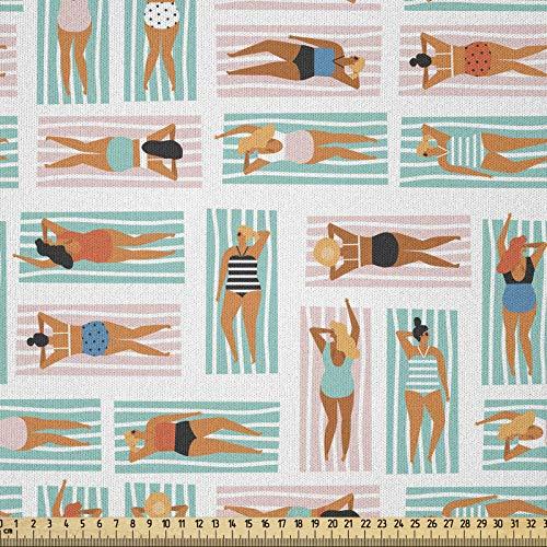 ABAKUHAUS Playa Tela por Metro, Las Mujeres Rayas Toallas Verano, Microfibra Decorativa para Artes y Manualidades, 1M (230x100cm), Multicolor ✅