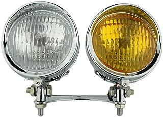Custom H4 Motorcycle Bottom Mount Headlight Spotlight + Motorcycle Bottom Mount Headlight Head Light Lamp Bracket for Harley Cruiser Chopper Touring Custom XL Vintage Style