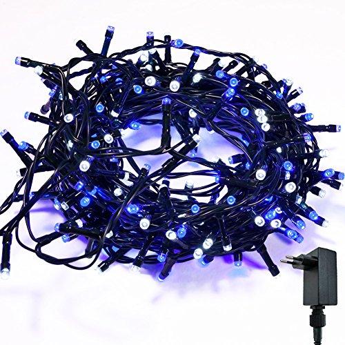 Catena Luminosa WISD Cavo Verde Scuro Stringa Luci Con 8 Modalità, Funzione Di Memoria, Bassa Tensione, Luci Natalizie Bicolori 13M 200 LED Luci Per Casa/Natale/Giardino/Feste (Blu+ Bianco)