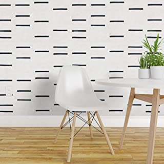 Spoonflower Peel and Stick Removable Wallpaper, Linear Mudcloth Lines Blocks Segmented Tribal Texture Modern Native Minimal Graphic Style Print, Self-Adhesive Wallpaper 24in x 144in Roll