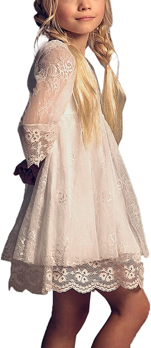 Vintage Flower Girls Luxury High quality goods Lace Dresses Kids Gowns Sleeves with Party