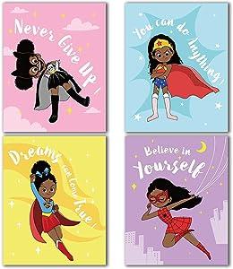 Black Girls Room Decor, Inspirational Wall Art for Black Girl,Super Heroine Room Posters Decor for Kids Tween Girls Room, Girls Wall Decor, Girls Room Bedroom Wall Decor, Gift for Black Girls, Set of 4(8