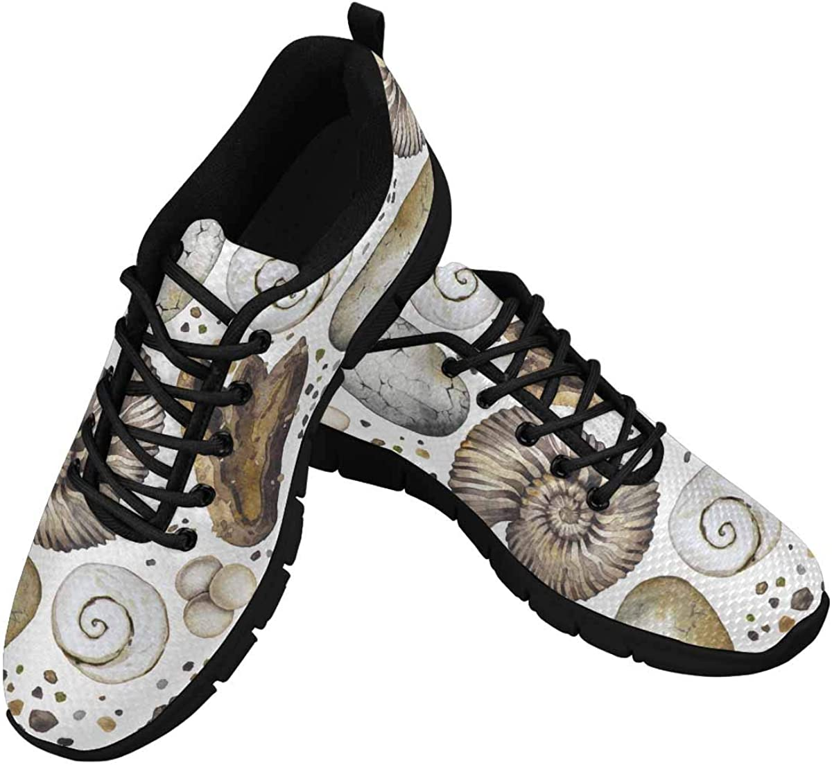 INTERESTPRINT Vintage Seashell Pattern Women's Athletic Walking Running Sneakers Comfortable Lightweight Shoes