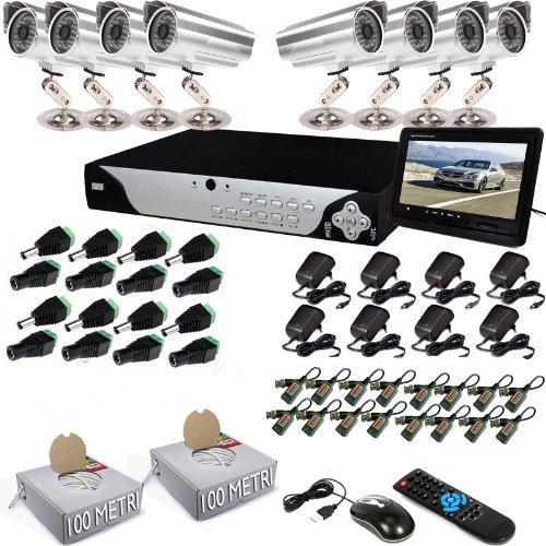 KIT SISTEMA DVR 8 CANALI CON 8 TELECAMERE TELECAMERA CCD DA 48 LED VIDEOSORVEGLIANZA LAN BALUN CON MONITOR KIT8CH48LEDMONITOR