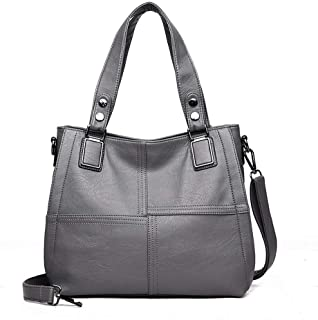 Fashion Wild Portable Shoulder Messenger Bag/Lady High-capacity Soft Leather Business Bag. jszzz (Color : Gray)