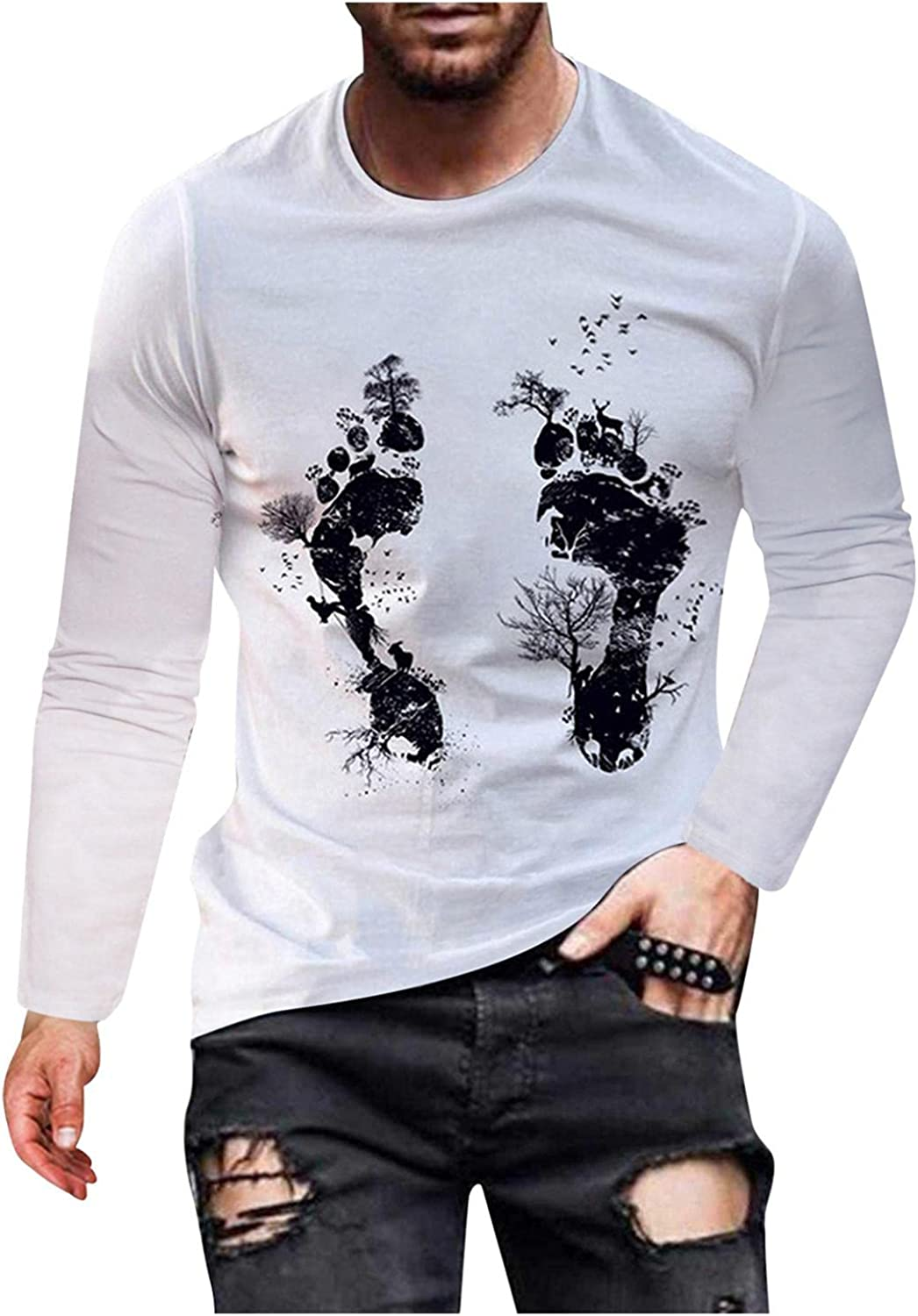 Men's T-Shirts Casual Long Sleeve Graphic Vintage Funny Shirt Lightweight Pullover Tops Workout Running Tees