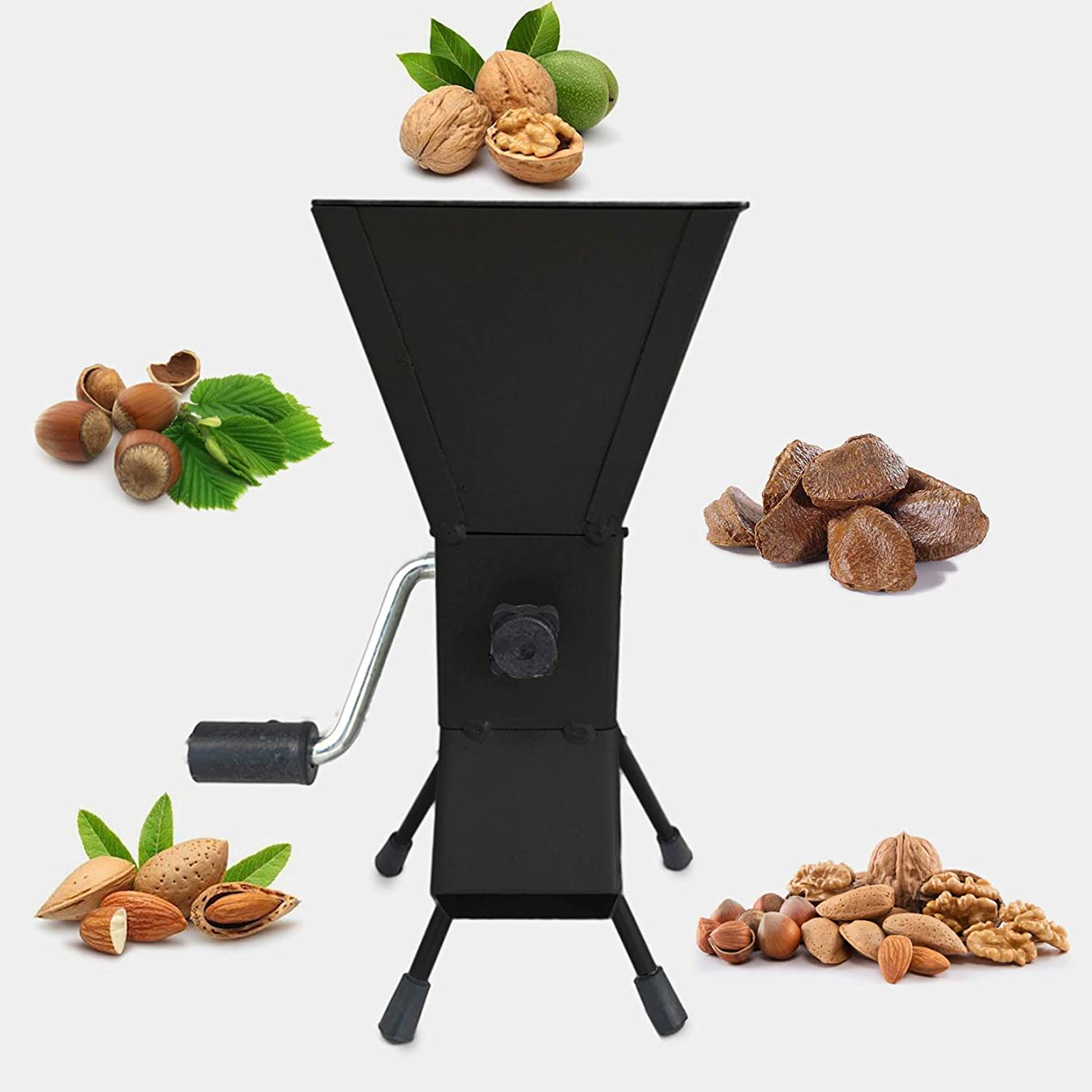 YARN STORY Hand Crank Nutcracker Tool for Pecans (Soft Shell), Almonds, Hazelnuts, Filbert Nuts, Brazil Nuts, Pistachios and English Walnuts. All Steel Nut Cracker Machine - Nutcracker Tool (Black)