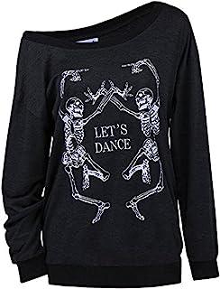 LuFeng Women's Christmas Halloween Off Shoulder Skeleton Printing Funny T-Shirt Long Sleeve Sweatshirts Pullover Tops