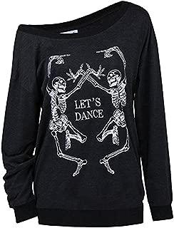 LuFeng Women's Halloween Off Shoulder Skeleton Printing Funny T-Shirt Long Sleeve Sweatshirts Pullover Tops