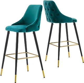 Duhome 2 x barkrukken barstoel van stof fluweel frame van metaal bar kruk bar stoel goed gewatteerd met rugleuning kleurke...