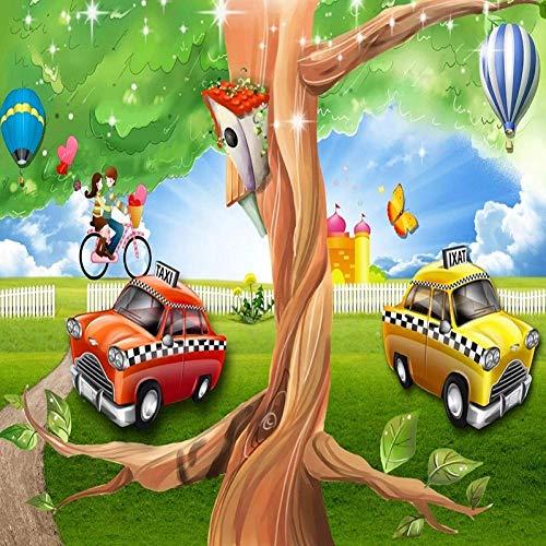 Grande murale 3D Wallpaper Heaven car Grande albero Camera da letto per bambini TV murale Decorazione della parete posteriore profonda 5D
