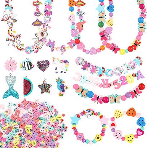 Toyssa 440+ PZ Perline per Bambini Perline Fai da Te per Bambini Set Unicorno Perline per Braccialetti Collane Anello Bambini Perline Legno Set Perline per Gioielli Fai da Te Regalo per Ragazze