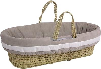 Baby Doll Bedding Zuma Moses Basket Set, Grey/White