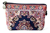 Oriental Carpet Woven Fabric Cosmetic Pouch, Clutch, Makeup Bag - Mashad Design Collection