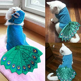 Moonite Cat Adjustable Peacock Hooded Clothes,Dog Shirts Pet Shirts Dog T-Shirt Puppy Dog Vest Puppy Clothing Puppies Clothes for Small Dogs Doggie Tee Halloween Thanksgiving Christmas Costumes