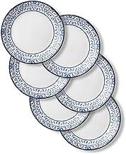 Corelle Signature Lunch Plates, 6 Piece Set, Portofino,Blue And White