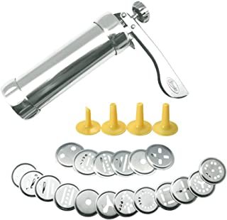 HuiJia Cookie Press Stainless Steel Biscuit Press Cookie Gun Set with 20 Discs and 4 Icing Tips