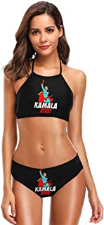 MDClothI Women's Sexy Split Bikini Set Halter Printed with Kamala 2020 Swimsuit Black