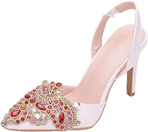 Frauen Braut spitz Zehe Stilett geschlossen Zeh nach den Weißen High Heels Sandalen des kühlen Gürtels, die Abschlussball-Partei-Brautschuhe heiraten
