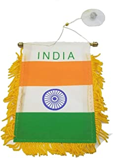 BUNFIREs India Flag Mini Banner Rearview Mirror Window car Home Indian Pride