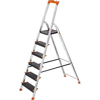 SONGMICS Escalera de 6 Peldaños, Escalera de Aluminio con Peldaños de 12 cm de Ancho, Escalera Plegable con Bandeja y Pies Antideslizantes, Carga de 150 kg, TÜV Rheinland Test, GS EN131, Negro GLT06BK