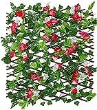 llxyzrzbhd Privacidad Enrejado Vallas Extensibles Setos retráctiles Valla de celosía expansiva Valla de jardín Valla de Madera con Hoja de Hiedra Artificial 825(Color:Red;Size:M)