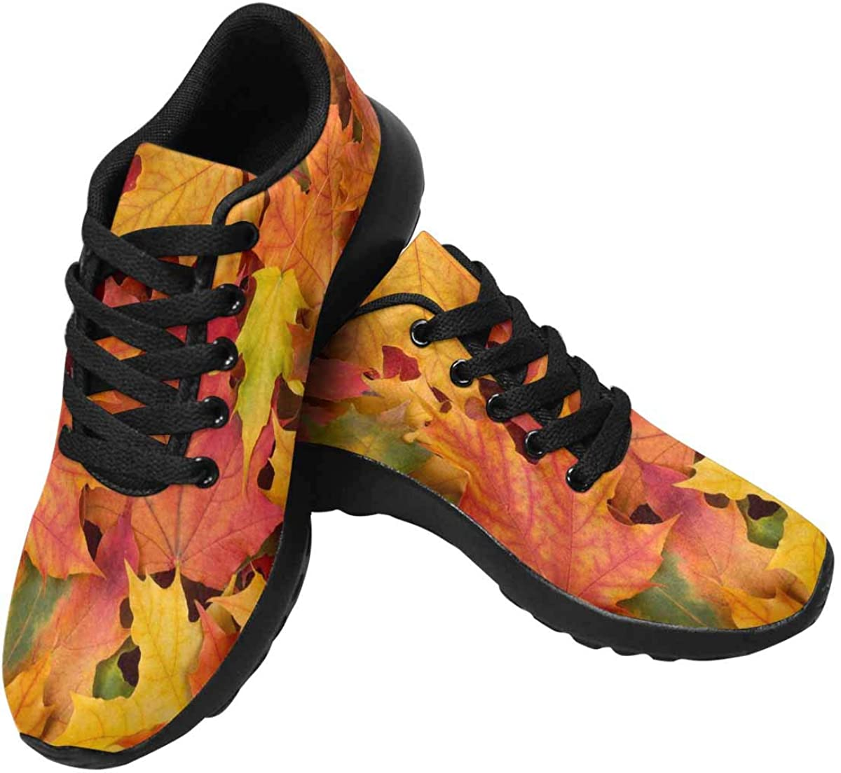 InterestPrint Fall Leaves Women's Running Shoes - Casual Breathable Athletic Tennis Sneakers