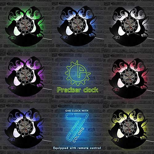 Grappige Leuke Pinguïns 3D Record Klok Dier Thema CD Klok Cartoon Leuke Vinyl Record Wandklok Creatieve Home Decor LED Clock-LED_with_7colors_12_inch