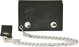Trifold Genuine Leather Wallet W/Chain,Made In USA (Assorted prints and colors)