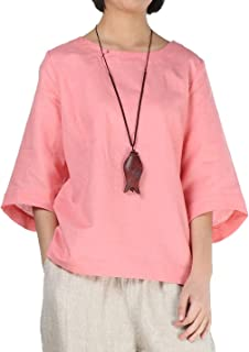 Minibee Women's Loose Cotton Linen Blouse Round Neck with Chinese Frog Button Tops
