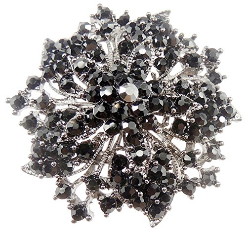 Glamour Girlz Lades Negro Vintage Diamante Cuadrado Piedra Flor 5cm redondo broche