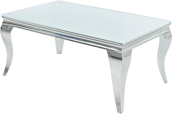 Tavolino da salotto barocco sfaccettato, in vetro e argento, 100 cm dunord design 37353