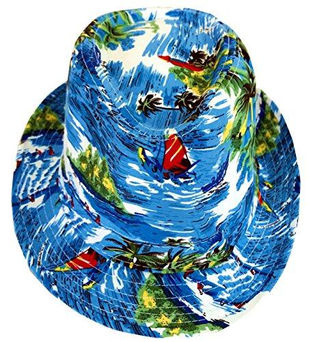 CLUB CUBANA Sombreros De Fedora Hawaiana para Hombres Mujeres Sombrero Unisex De Fieltro Estilo Panamá Sombreros para El Sol, La Playa, El Verano, Jazz, Luau, Vestuarios De Fiesta