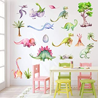 Mendom Watercolour Dinosaur Wall Decals, Peel and Stick Colourful Wall Art Mural for Kids Bedroom,Nursery, Classroom & More