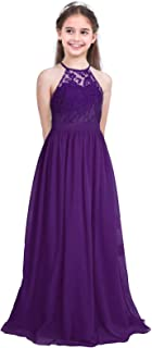 Kids Girls Halter Neck Chiffon Long Party Junior Wedding Evening Prom Maxi Gown Dress