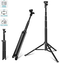 Neewer 2-in-1 Extendable Selfie Stick Monopod and Tripod Stand - Folded 16.4 inch Adjustable 17-59.5 inch for iPhone Samsung Huawei Android, GoPro Cameras (Phone Clamp and GoPro Adapter Not Included)
