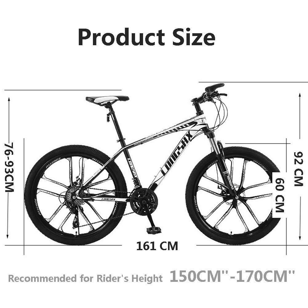 Relaxbx Bicicleta de montaña de 21 velocidades Freno de Doble Disco Bicicleta de Carretera Bicicleta de montaña de Cola Dura Recomendada para la Altura del Conductor 150 cm-170 cm, Blanco: Amazon.es: Deportes