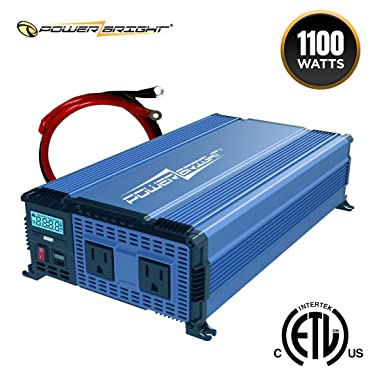 PowerBright 1100 Watts Power Inverter 12V to 110V, Modified Sine Wave Car Inverter, DC to AC Converter with Dual 110 Volts AC Outlets and 2 USB Ports 2.4A ea - ETL Approved Under UL Std 458