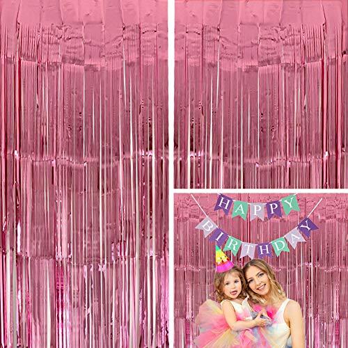 Moohome Großer Lametta-Vorhang mit Fransen, 91 x 244 cm, metallisch, Babyrosa, 2er-Pack, Rosa
