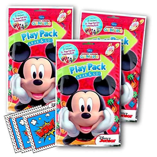 Disney Mickey Mouse Coloring Pack Party Activity Favors with Stickers, Crayons and Coloring Activity Book in a Resealable Pouch Bundled with 3 Separately Licensed GWW Prize Reward Stickers