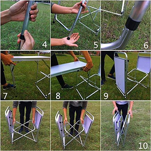 6198mAQJLML - Klappbarer Camping-Tisch Tragbarer Picknicktisch Aluminiumlegierung 1680D Oxford-Stoff Mobiler Küchentisch Kochtisch Aufbewahrungstisch für Gartenpatio BBQ Party lili